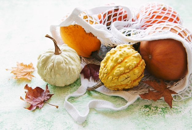 Autumn composition with assorted pumpkins in eco string bag, thanksgiving background.