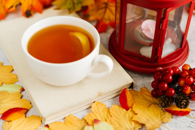 Autumn composition with cup of tea
