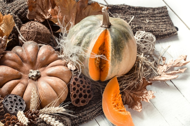 Autumn composition with decorative items and pumpkins