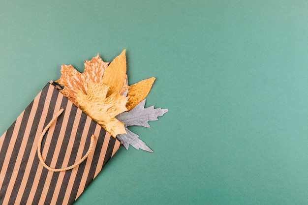 Autumn composition with golden leaves in gift bag on green paper background
