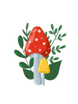 葉とキノコの秋の構成。赤いヒキガエルのイラスト。白い背景で隔離の漫画スタイルの秋のデザインで手描き。秋の自然のポスター、カード、ポストカード、挨拶。