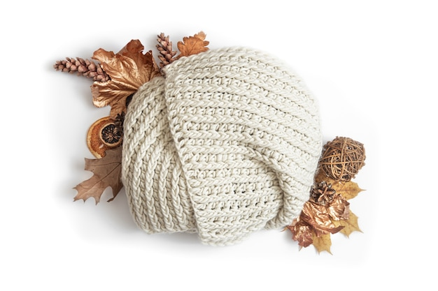 Autumn composition with leaves, pine cones and round knitted element copy space.