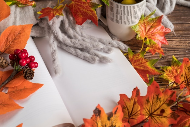 Autumn composition with open book on table