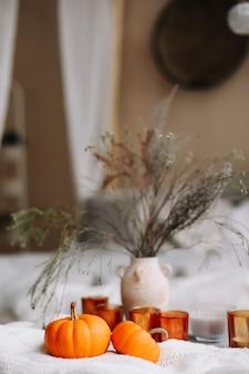 Осенняя композиция с тыквами, свечами, книжкой и сухоцветами, с теплым пледом
