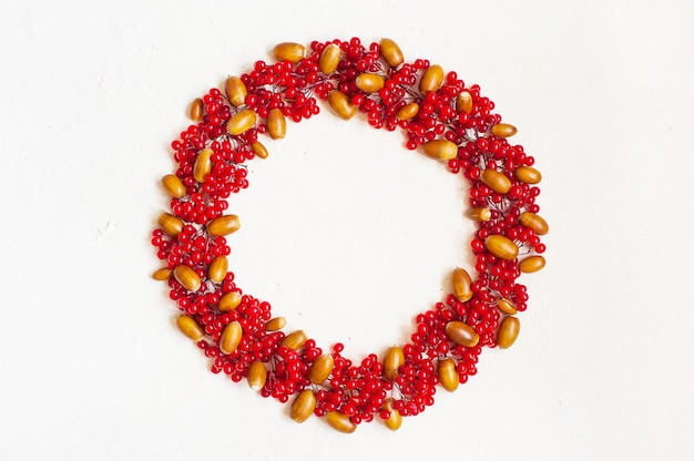 Autumn composition with red berry and  acorns. wreath made of viburnum berries.