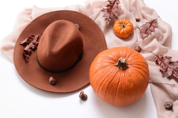 白地にスタイリッシュな服とカボチャの秋の構図