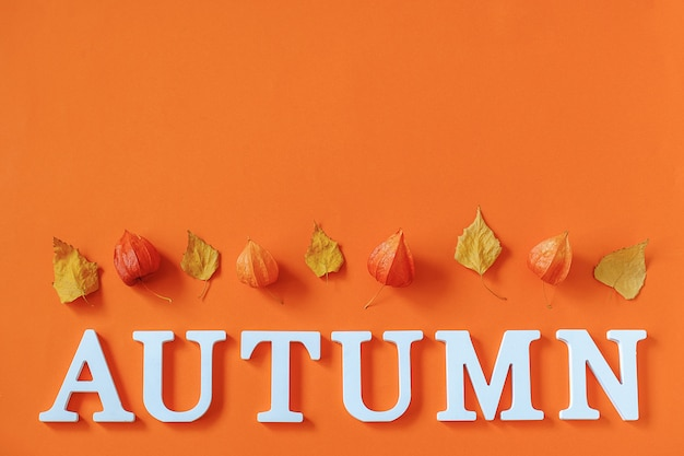 Autumn composition. word autumn from white letters and bright autumn leaves herbarium on orange paper background