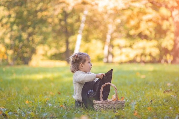 Autumn concept girl with a basket of autumn leaves and a witch hat on the lawn in an autumn park on