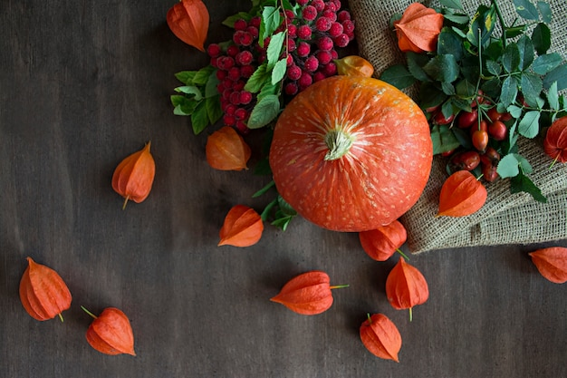 Autumn concept with fruits and vegetables. pumpkin, figs, autumn leaves.