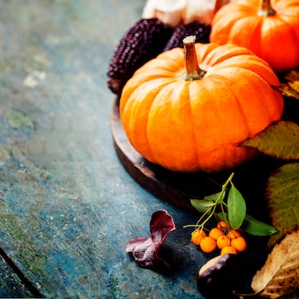 Осенняя концепция с сезонными фруктами и овощами на деревянной доске