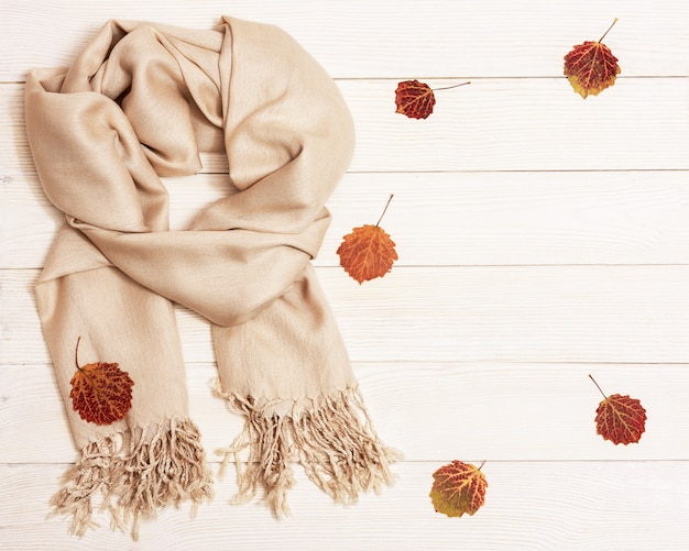 Autumn cozy composition with dried leaves of aspen and pastel beige scarf