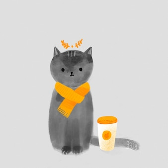 Autumn cozy illustration. hand drawn cute cat in scarf with paper cup of pumpkin latte. coffee to go art. fall greeting card.