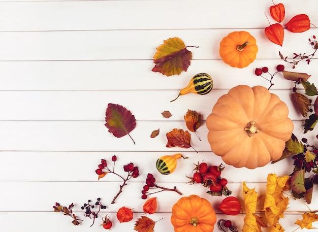 白い木製のカボチャ、ベリー、葉から秋の装飾