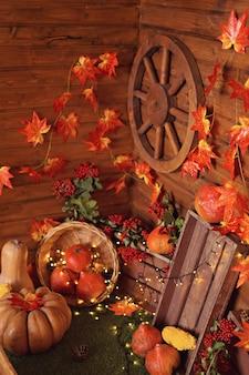 가을 장식 : 호박, 열매 및 잎에 나무 배경, 추수 감사절 또는 할로윈