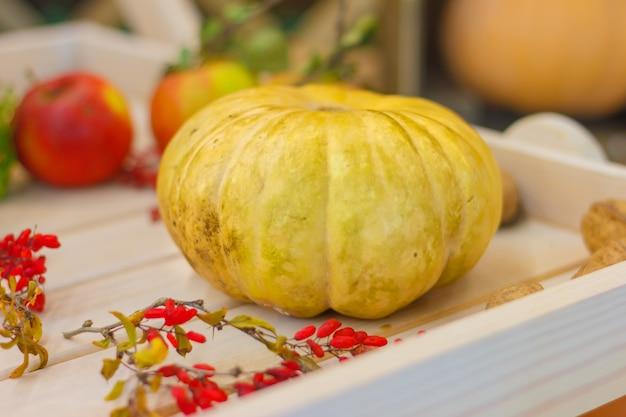 木製のテーブルに秋の装飾カボチャ、ナッツ、リンゴ。秋のコンセプト
