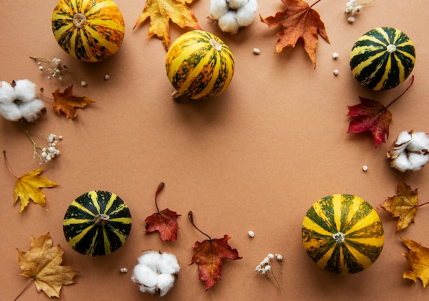 Autumn decoration with pumpkins and dry maple leaves on a brown background