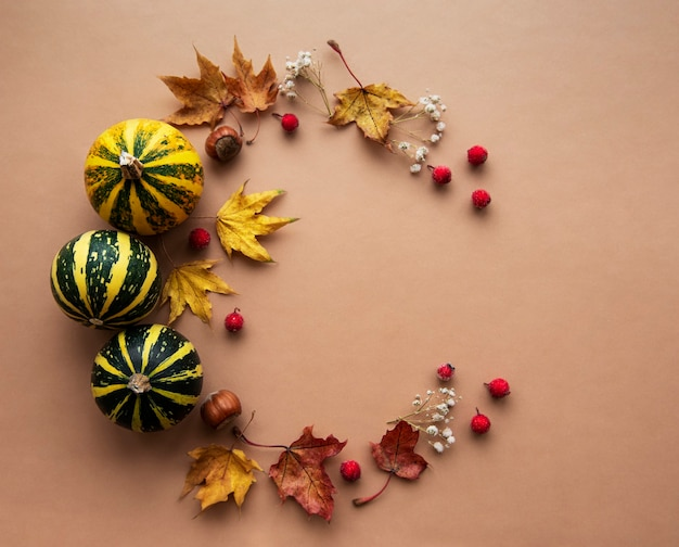 Autumn decoration with pumpkins and dry maple leaves in the shape of a circle on a brown background