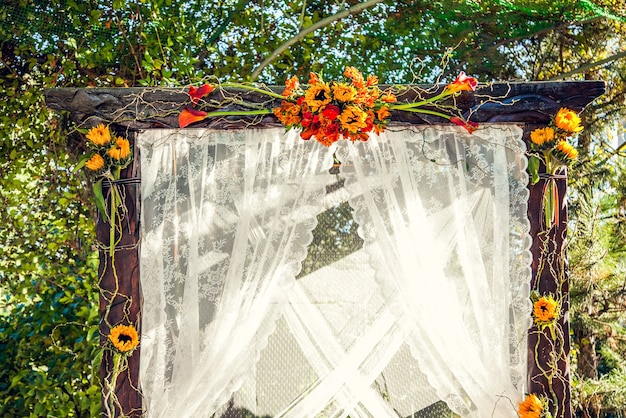 Autumn decorations for the wedding ceremony.