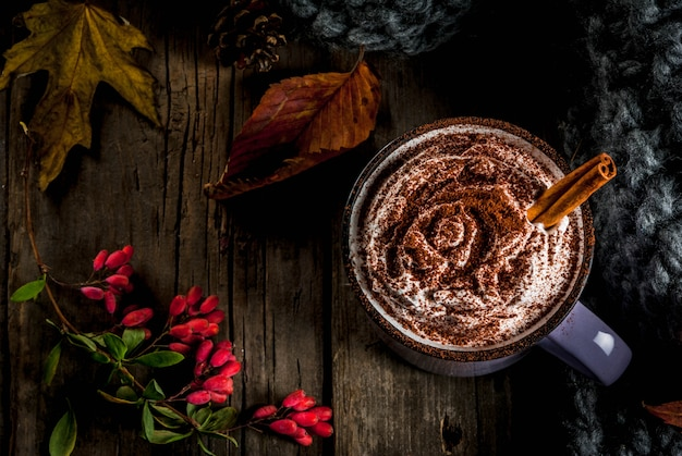 Autumn drinks, hot chocolate or cocoa with whipped cream and spices (cinnamon, anise), on the old rustic wooden table, with a warm cozy blanket, hay berry and leaves copyspace top view