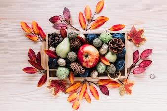 Autumn elements and fruits in wooden box