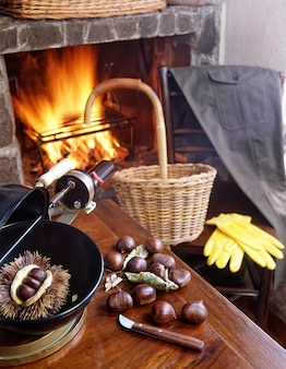 Autumn evening at the fireside roasting chestnuts