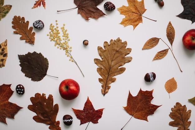 Осенняя осень красивый фон и открытка с сушеными листьями, каштанами и яблоками