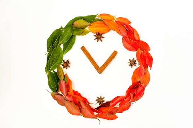 Autumn fall flat lay, top view arrangement autumn leaves in shape of clock  on white