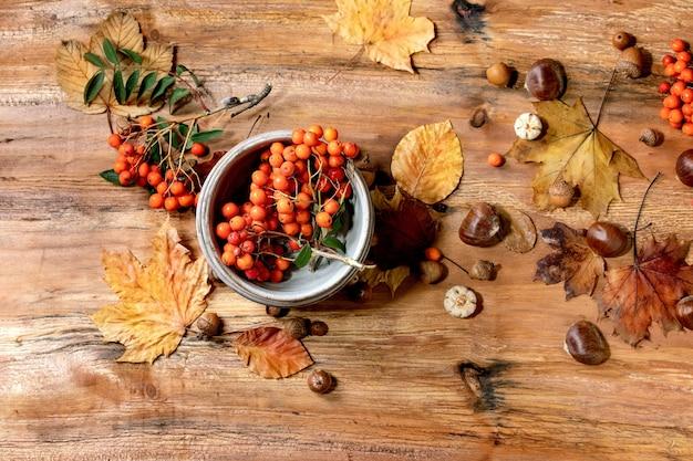 セラミックボウル、黄色のカエデの葉、ナナカマドの果実、栗、木製のテーブルの上の装飾的なカボチャと秋の秋の季節の組成。フラットレイアウト、コピースペース