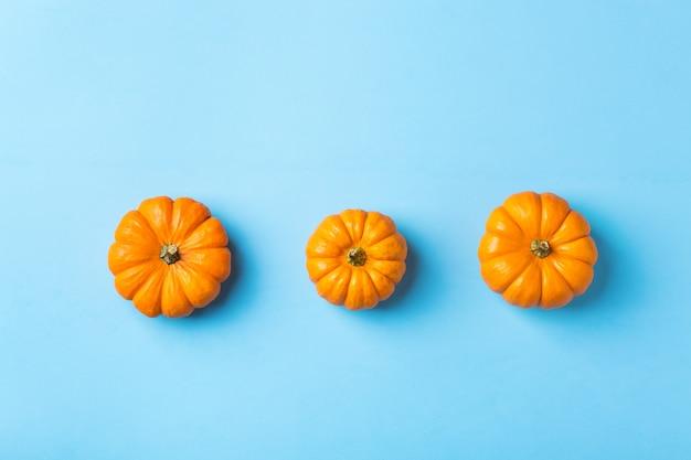 Осенняя осенняя композиция на день благодарения с декоративными оранжевыми тыквами и сушеными листьями. плоская планировка, вид сверху, копия пространства, натюрморт фон для поздравительной открытки