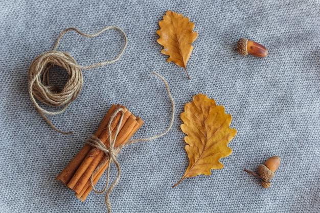 秋のフラットレイ構成紅葉、シナモンスティック、オーク