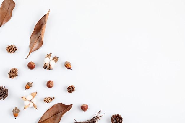 円錐形と葉を持つ秋のフラットレイ構成