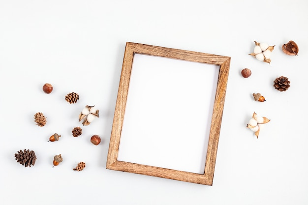 Autumn flat lay composition with picture frame