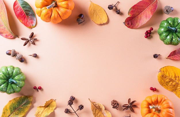 Autumn flat lay decor from dry leaves and pumpkin with copy space