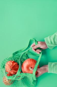 Осенняя квартира лежала с женской рукой, держащей светло-зеленую сумку с оранжевыми тыквами на нео мятной бумаге
