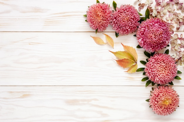 Autumn floral background - pink asters on white wooden table.