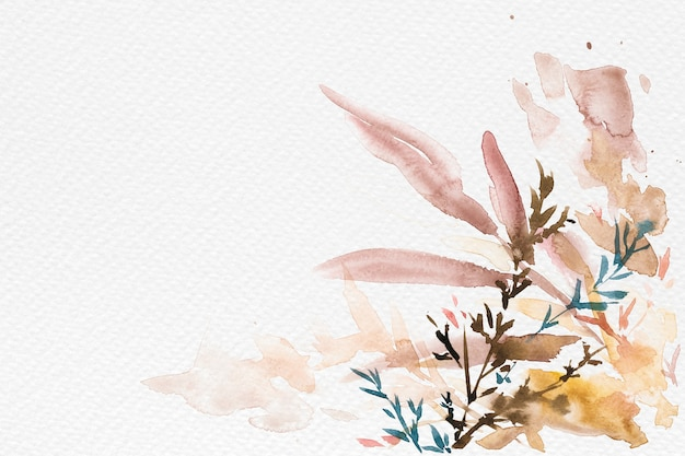 Autumn floral border background in white with leaf watercolor illustration