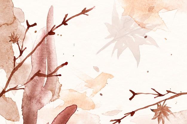 葉のイラストと茶色の秋の花の水彩画の背景