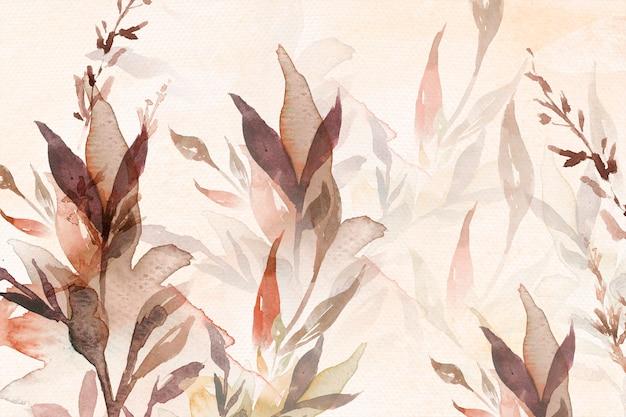 잎 일러스트와 함께 갈색에서가 꽃 수채화 배경