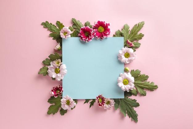 Autumn flowers chrysanthemum blue blank for an inscription on a trendy pink
