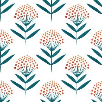 Autumn flowers seamless pattern.