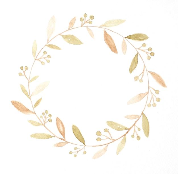テクスチャのためのコピースペースと秋の花輪
