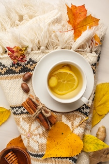 Autumn flt lay of tea with ginger and lemon on a white background.