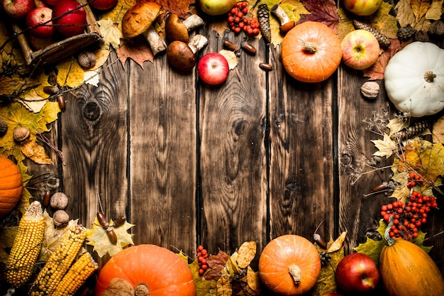 Autumn food frame of autumn vegetables and fruits on wooden background