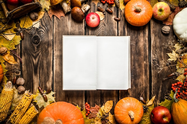 Autumn food old book with autumn fruits and vegetables on wooden background