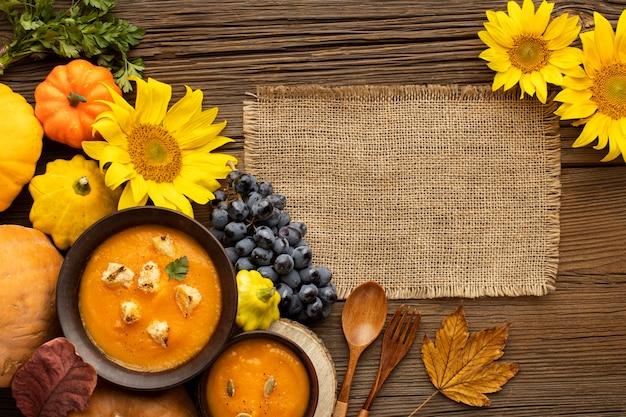 Autumn food pumpkin and mushroom soup copy space