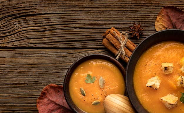 Autumn food pumpkin and mushroom soup