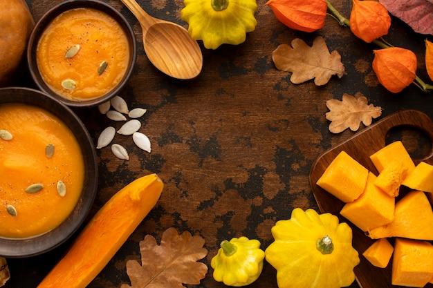 秋の食べ物素朴な装飾コピースペース