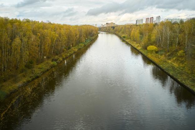 Осенний лес, желтые листья плывут по реке, вид с дрона