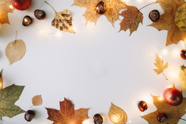 Осенняя рамка и осенняя текстура с листьями хэллоуин день благодарения фон