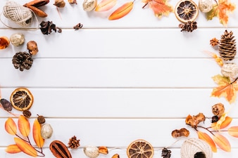 Autumn frame composition on white background
